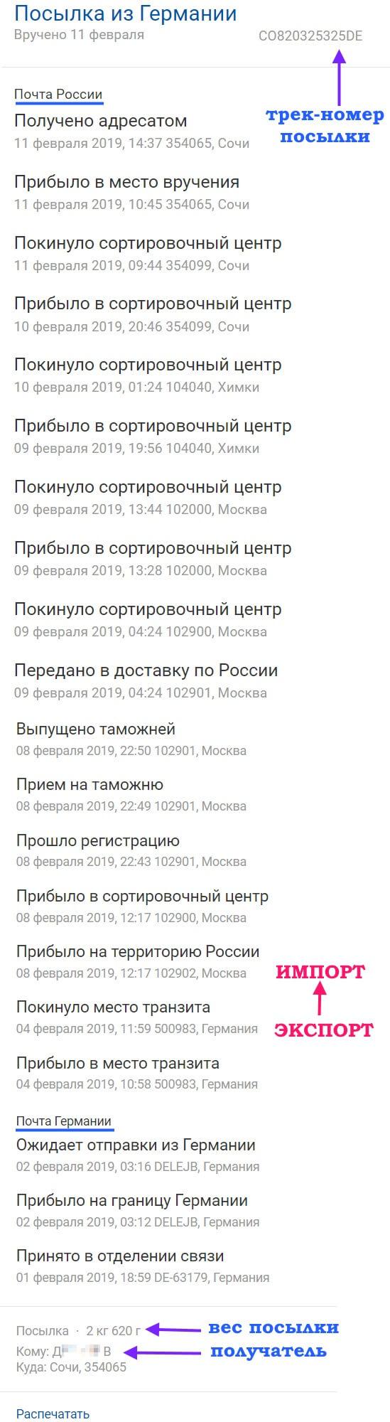 Отслеживание доставки посылки на сайте Почты России